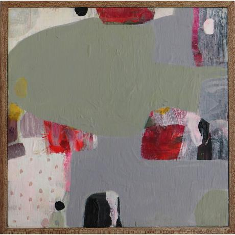 Leila Fanner, Mini Abstract 4, Oil and oil pastel on wood, 25cm x 25cm