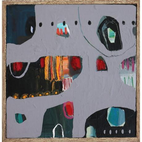 Leila Fanner, Mini Abstract 3, Oil and oil paste on wood, 25cm x 25cm