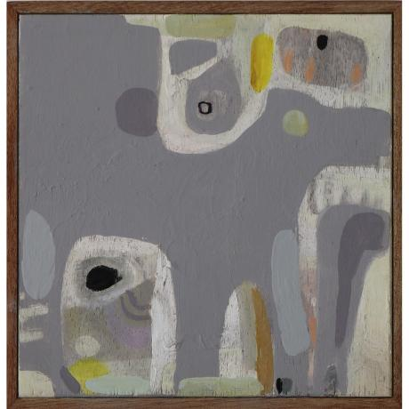 Leila Fanner, Mini Abstract 5, Oil and oil pastel on wood, 24cm x 24cm