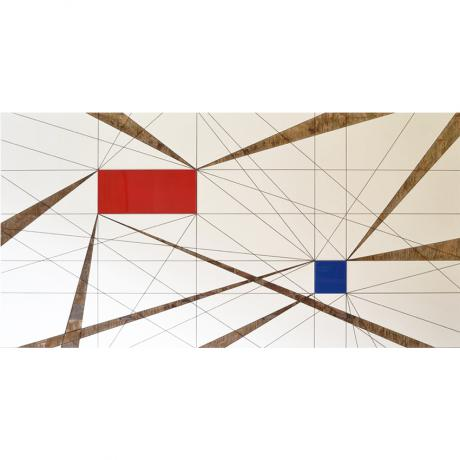 Lars Fischedick Blue Square And Red (Perspective With 2 Spaces) 2015