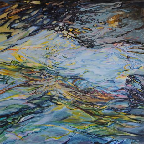Rosemary Joynt, Flow, 2017, Oil on Canvas, 101cm x 101cm