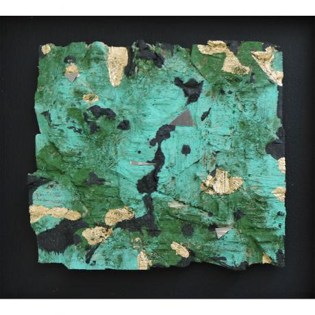 Lars Fischedick, Gold and Verdigris, 2017, Mixed media on wood, 24cm x 27cm