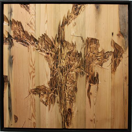 Lars Fischedick, Durchdringung III, Carved and burned wood, 65cm x 71cm