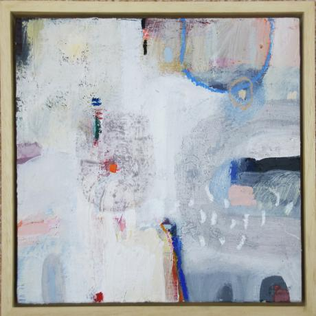 Leila Fanner, Mini abstracts 2/6, Acrylic, gesso and oil pastel on wood, 28 cm x 28 cm with thin wood frame