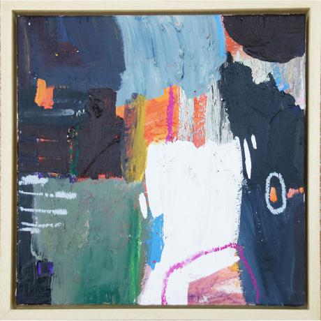 Leila Fanner, Mini abstracts 4/6, Acrylic, gesso and oil pastel on wood, 28 cm x 28 cm with thin wood frame