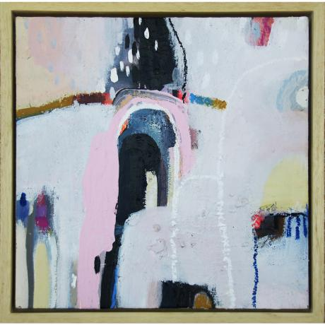 Leila Fanner, Mini abstracts 1/6, Acrylic, gesso and oil pastel on wood, 28 cm x 28 cm with thin wood frame