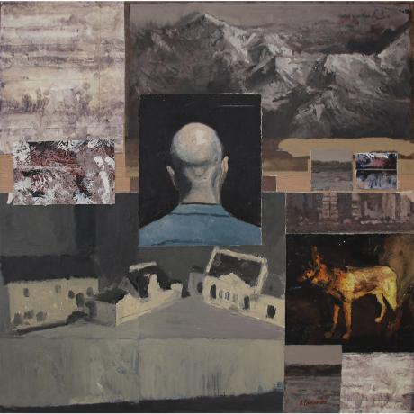 Ben Coutouvidis, Painted Collage with Models of Houses, Oil on gesso prime paper, 61.5cm x 61.5cm (incl. frame)