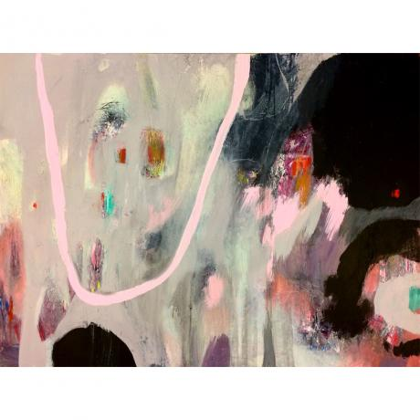 Leila Fanner, Playground, Oil and oil pastel on canvas, Framed, natural wood edge, 117cm x 92cm