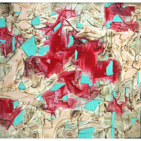 Lars Fischedick, Red Resin and Verdigris, 2017, Mixed media on wood, 62cm x 65cm