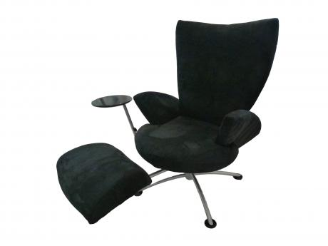 Contemporary Easy Chair, Italian (circa 2000),  'Goraco' (Italian) manufactured parts, Black fabric, foam, chromed steel, H:114cm W:158cm D:125cm