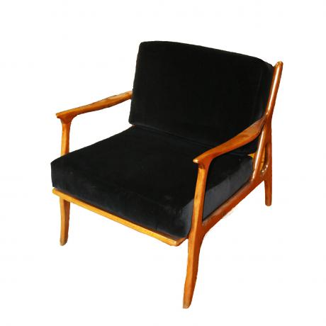 Italian Lounge Chairs, circa 1960's, wood and black fabric (pair)
