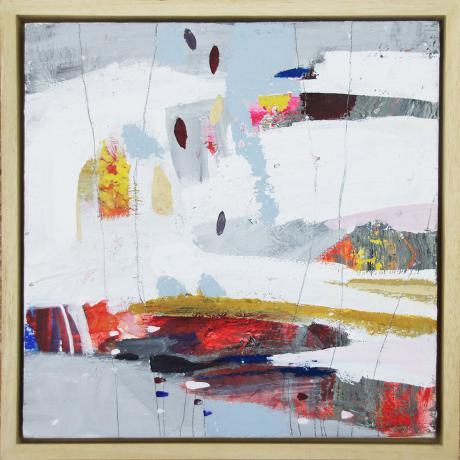 Leila Fanner, Mini abstracts 3/6, Acrylic, gesso and oil pastel on wood, 28 cm x 28 cm with thin wood frame