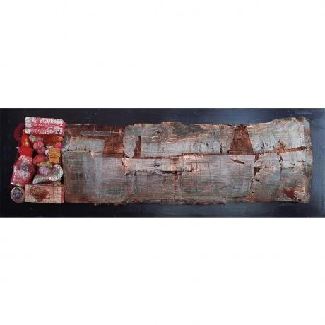 Mark Rautenbach GOOD FENCES MAKE GOOD NEIGHBOURS [BRICS] Board, salvaged wood, tissue paper, collected objects, thread, metal leaf, metal powders and ink 54,4cm H x 157cm W