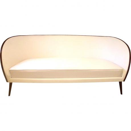Italian Couch, circa, 1950's, Rose wood and faux ostrich leather, 83cm x 206cm x 89cm