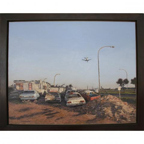 Ben Coutouvidis, In the Flight Path, 2012, Oil on Canvas, 71.5cm x 85.5cm (incl. frame)
