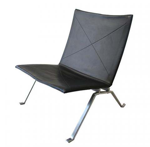 Poul Kjaerholm, b. 1922 Denmark, PK22 Chair (1990's version), made under license by Fritz Hansen, Denmark. (chair is labeled), first designed circa 1956  Satin brushed stainless steel, leather, 71cm x 63cm x 63cm