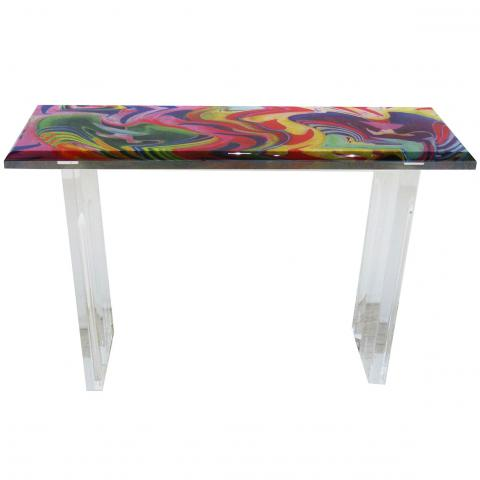 Italian Console, circa, 1970-1980, Plexigalss console with multicolour abstract art inlay